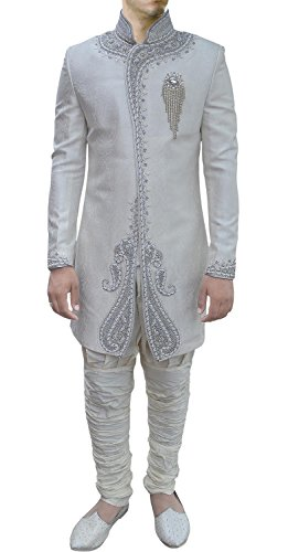 INMONARCH Mens Fashionable Wedding Indo Western ready to ship IN443 38R Off-white