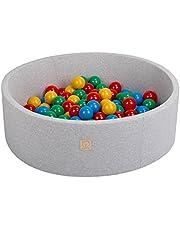 MISIOO Smart ballenbad 90x30 cm 200 ballen 6 cm rond voor kleine kinderen (grijs: meerkleurig)