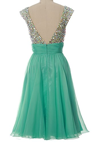 MACLoth Women Cap Sleeve V Neck Crystal Chiffon Short Prom Dress Evening Gown Teal