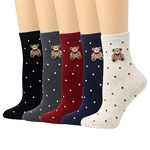 (LIVEBEAR 5 Pairs Womens Cute Characters, Novelty, Casual Cotton Crew Socks Made In Korea (Teddy)