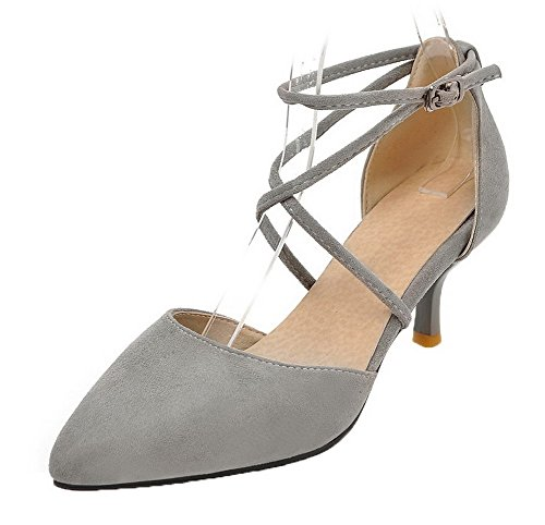 Gray Toe Women's Heels Closed WeenFashion Buckle 35 Kitten Sandals Solid Frosted zawTTqZp