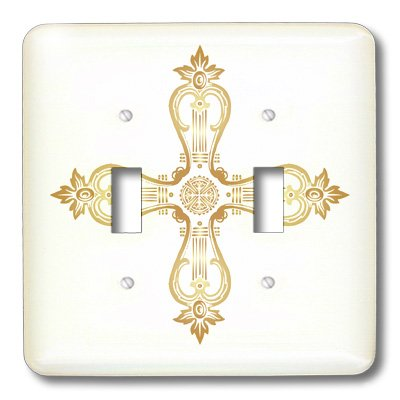 lsp_38400_2 TNMGraphics Faith - Golden Ornate Cross - Light Switch Covers - double toggle switch by 3dRose