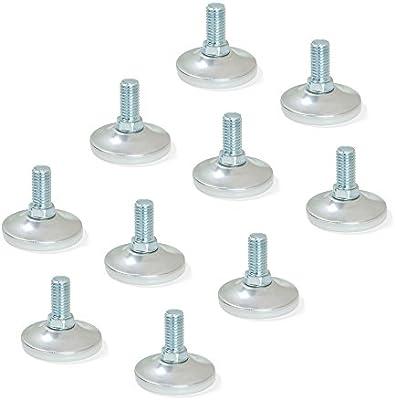 Emuca 2020764 Pie nivelador para mueble rosca M10x20mm base /Ø43mm Lote de 10 piezas