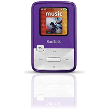 SanDisk Sansa Clip Zip 4GB MP3 Player, Purple With Full-Color Display, MicroSDHC Card Slot and Stopwatch- SDMX22-004G-A57P (Discontinued by Manufacturer)