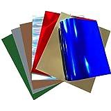Stretchable Metallic Foil Heat Transfer Vinyl HTV Bundle for T Shirts, 12x10 inch, 7 Color Pack …