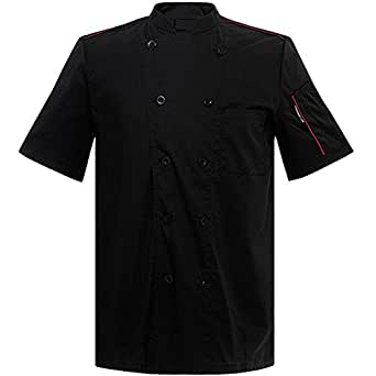 Short sleeve chef coat kitchen uniforms black red white with sleeve pocket, US Size L (Tag XXXL), Black