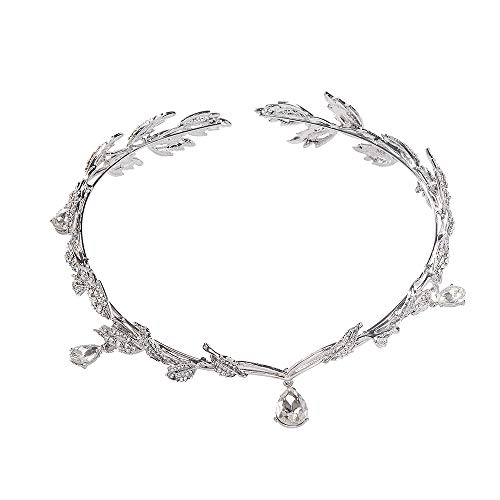 Crystals Elven - S SNUOY Bridal Women Crystal Leaf Wedding Headpiece Headband Bohemian Forehead Tiara and Crown with Pendant for Pageant Prom