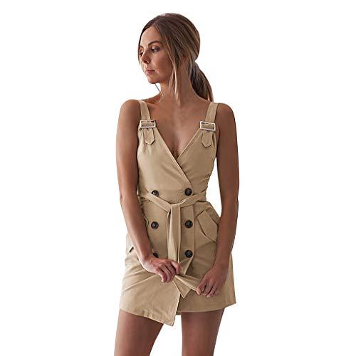 senza sexy sottotazza donna Clubwear corti donna maniche Abiti Khaki Mini con Girl V sottoveste a sexy estate pieghe abito qRIxSHwE7