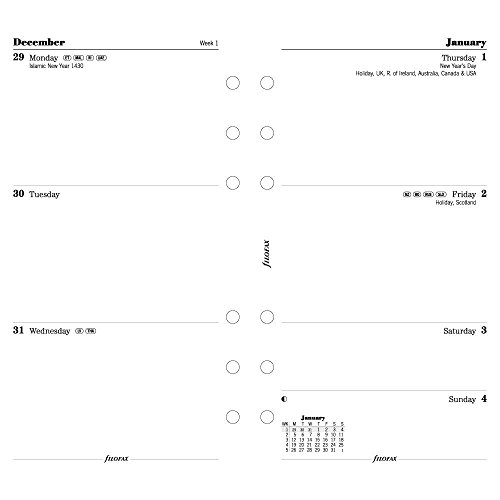 Filofax Week to View Refill for 2015 Personal Size Yearly Calendar, White (C68421-15)