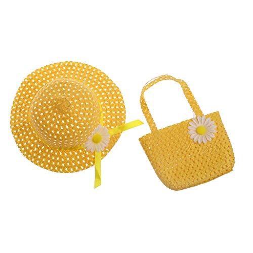 cici store Newborn Baby Kids Flower Summer Hat Cap And Handbag Set Photography Photo Props (yellow) ()
