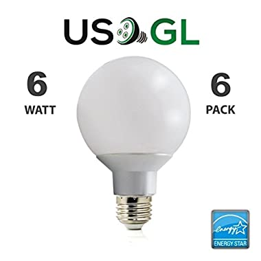 6 Pack LED G25 Vanity Globe Light Bulb - DIMMABLE - 6W (40 Watt Equivalent) Warm White (2700K) Shatter Resistant Energy Star E26 Base 450 Lumens