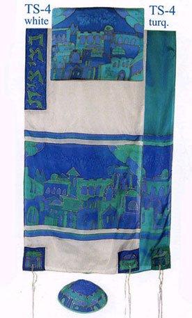 Yair Emanuel Prayer Shawl - Jerusalem Gate in Blue Hand painted Silk Tallit Set - White - Size: 21