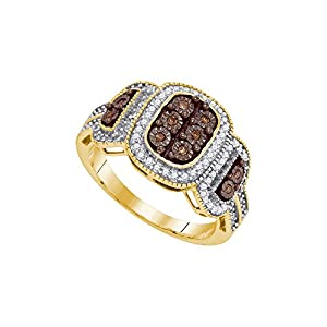 Size 8 - 10k Yellow Gold Round Chocolate Brown Diamond Cluster Ring (1/3 Cttw)