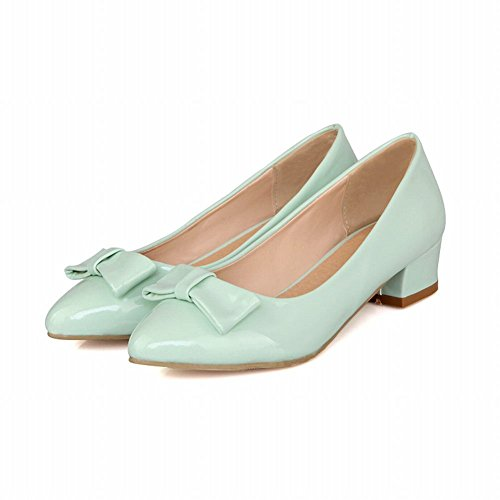 Latasa Womens Fashion Bow Pointed-toe Chunky Heel Patent-leather Pumps Shoes Light Blue DQwdyk2
