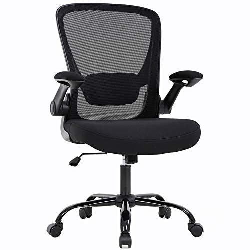Home Office Chair Ergonomic Desk Chair Mesh Computer Chair Swivel Rolling Executive Task Chair with Lumbar Support Arms Mid BackAdjustable Chair for Women Adults, Black
