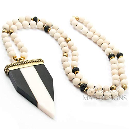 Black and White Point Arrowhead Pendant Necklace on Matte Fossil Stone with Lava Stone and Turkish Brass Accents - 33 Inches Long Handmade Necklace by Miller Mae Designs ()