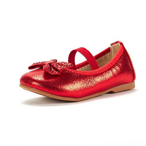 DREAM PAIRS Toddler Tiana_01 RED Girl's Mary Jane Ballerina Flat Shoes Size 9 M US (Red Mary Janes For Girls)