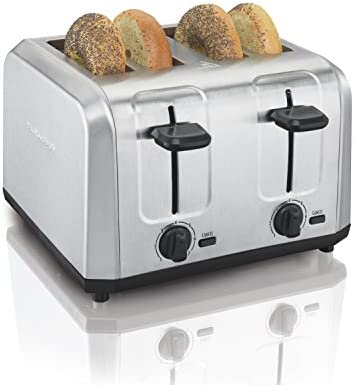 Hamilton Beach Brushed Stainless Steel 4 Slice Extra Wide Toaster with Shade Selector, Toast Boost, Slide-Out Crumb Tray, Auto-Shutoff and Cancel Button (24910)