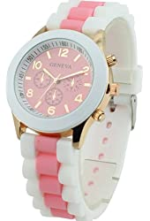 Women's Geneva Silicone Band Jelly Gel Quartz Wrist Watch Pink