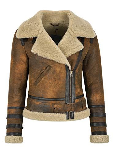 Shearling Pelle Style Giacca Camel Beige Laura Biker Da With Donna Vera In Fashion Di Pecora Casual Fur PEEFwXqgx