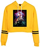 Silver Basic Girl's Long Sleeve Sweatshirt Hoodie Stranger Things Support Fan Pullover Crop Top Jacket