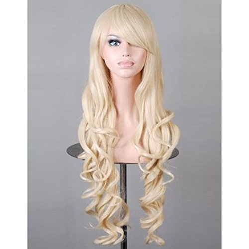 [RightOn New Fashion 30 Inches Synthetic Women Girls Sexy Long Wavy Curly Cosplay Costume Party Wig with Free Wig Cap and Comb (Light] (Long Sexy Wigs)