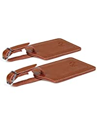 0287f9597aa17 Genuine Leather Luggage Tags   Bag Tags 2 pieces Set in 14 Color