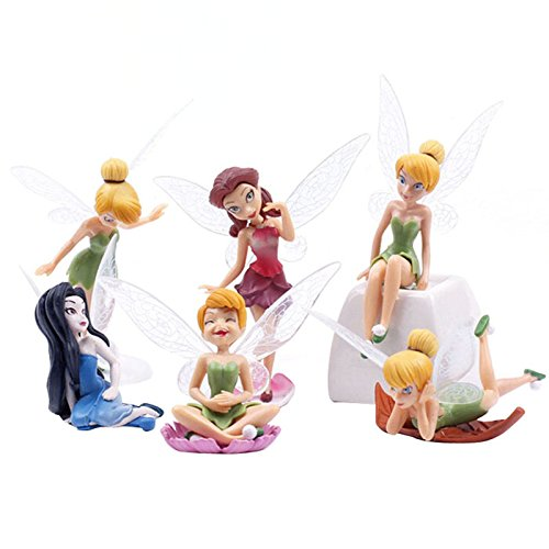 Funnytoday365 6Pcs Set Diy Garden Ornaments Flying Flower Fairy Miniature Resin Figurine Craft Fairy Garden Decoration Cartoon Mini Toys ()