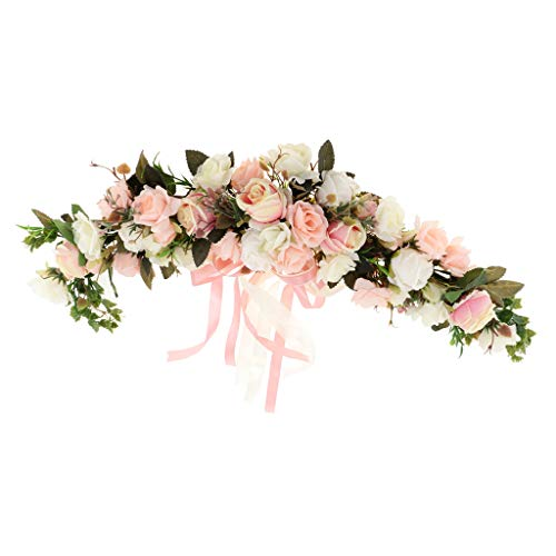 Rose Garland Mirror - Fityle Shabby Chic Silk Rose Flower Mirror Wall Door Wreath Ring Trim Wedding Rattan Leaves Blossom Garland - Garland A2, 60 x 15 x 9 cm