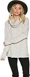 New Free People Women's Cocoon Cowl Sweater Cotton Grey