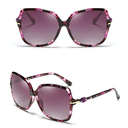 Couleur Lunettes Frame Soleil Pilote Glasses Rétro Miroir Conduire de Tea Color Polarized Élégant Soleil Big Lunettes Violet Ms de qpZw8xI4