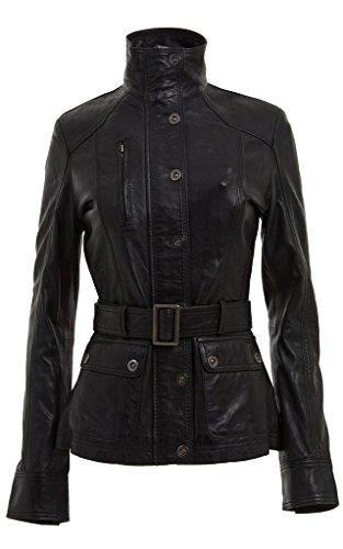 Cordero del 100% Nappa cuero de las mujeres de las señoras chaqueta militar Cinturón Negro Slim Fit