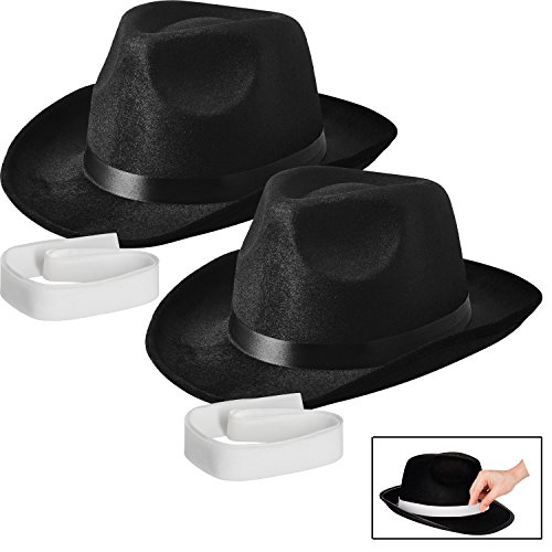 Michael Jackson Smooth Criminal Outfit (NJ Novelty - Fedora Gangster Hat, Black Pinched Hat Costume Accessory, Set of 2)