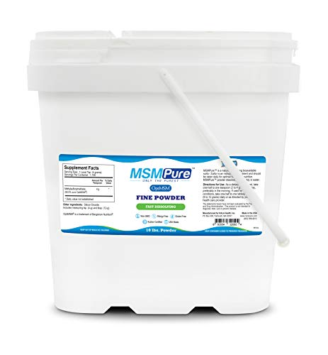 Kala Health MSMPure Fine Powder, Fast Dissolving Crystals, 10 lbs, Pure MSM Organic Sulfur Supplement for Joints, Muscle Soreness, Immune Support and Beauty, Skin,Hair & Nails. Made in USA