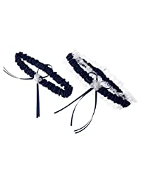 MonkeyJack Rustic Bridal Wedding Garter Set Hen Party Lace Garter Wedding Accessory - Navy Blue, 30-56cm