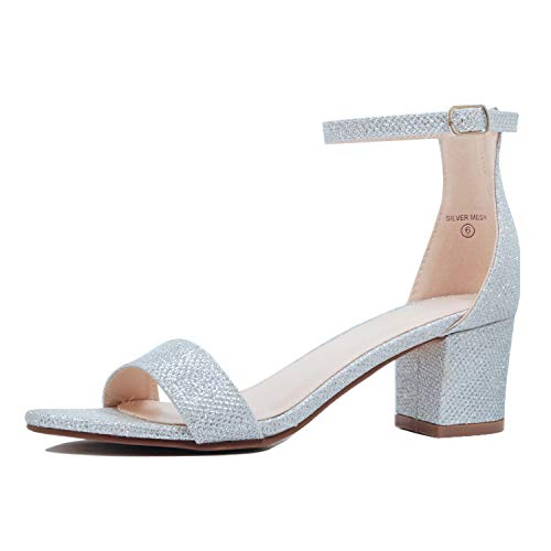Guilty Shoes - Womens Ankle Strap Single Band Sandals - Low Chunky Block Comfortable Office Heeled Sandals (8 B(M) US, 09 Silver) by Guilty Shoes