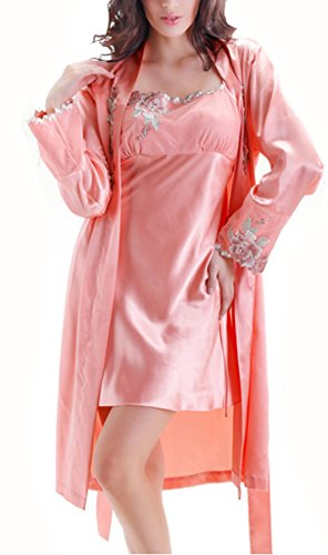 Tortor 1Bacha Women's Silk Like Applique EmbroidePink Nightgown and Robe Set Pink 6-8