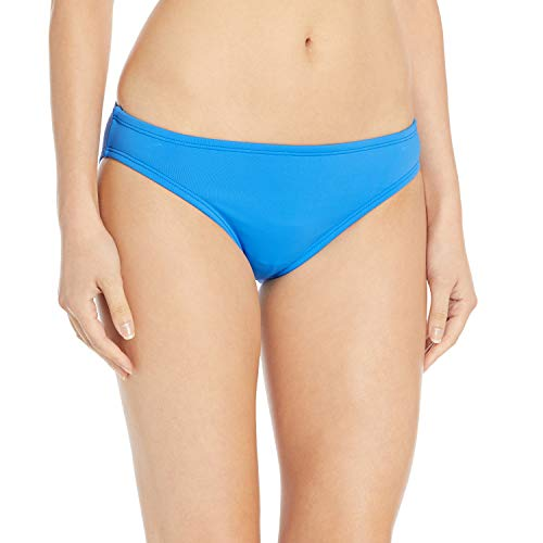 La Blanca Women's Solid Hipster Bikini Swimsuit Bottom, Chambray//Island Goddess, 12