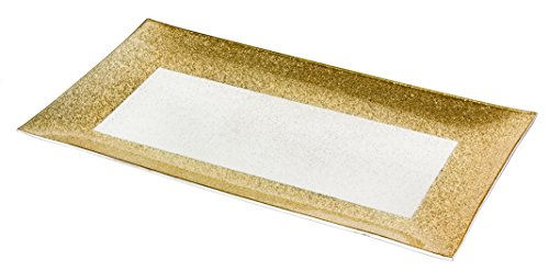 Tesoro Radiant Gold Satin Rectangular Centerpiece Platter, 15 Inches