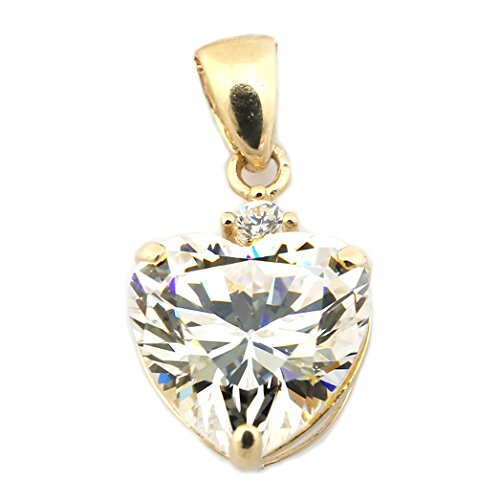 - Beauniq 14k Yellow Gold Cubic Zirconia Heart Pendant Necklace - Pendant only
