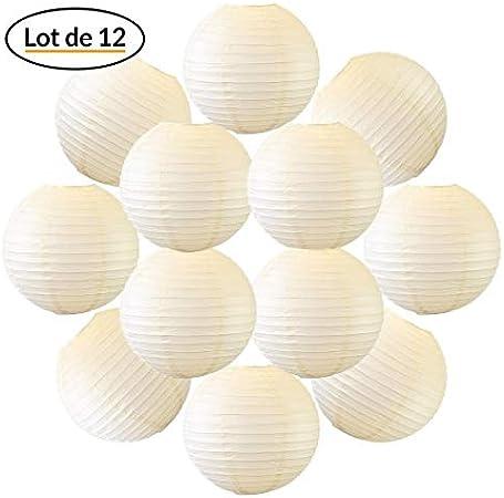 type Lanterne Japonaise pour Decoration Mariage 12 pi/èces 12 12x Lanterne Papier 30 cm Fuchsia Le must de la Gamme de Lampions Papier Notice en Fran/çais. Suspension Boule Papier 30 cm