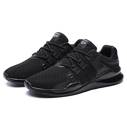 Caminar Zapatillas Cordones Zapatos Hombres de Resistentes con Ligeros Deportivos Deporte Para Zapatos TUOKING Respirables Negro Ocasionales Zapatos Atléticos Para ZqHwZB