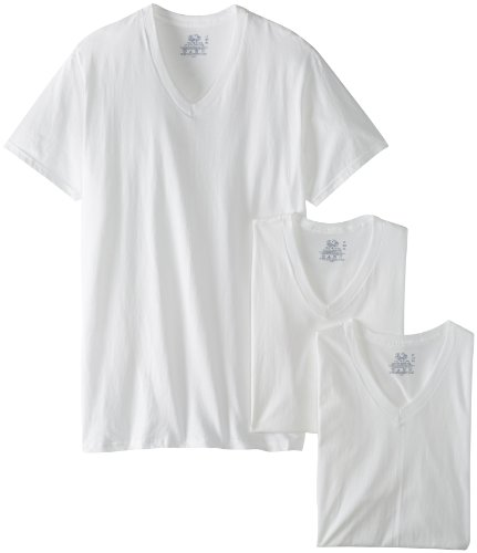Price comparison product image Fruit of the Loom Men's 3-Pack Tall Size V-Neck T-Shirt,  White,  LT