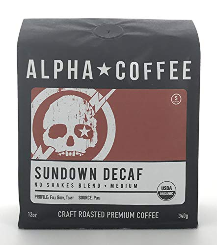 Alpha Coffee, Organic Decaf Coffee Whole Bean, 12 ounces, Swiss Water Process Decaffeinated Coffee, Fair Trade, Sundown Decaf Peru Coffee, Medium Roast