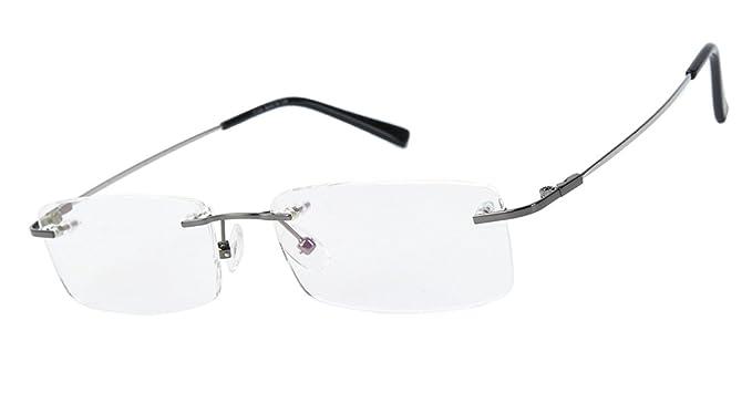 5563d6a9191 Agstum Titanium Alloy Flexible Rimless Frame Prescription Eyeglasses  (Gunmetal)