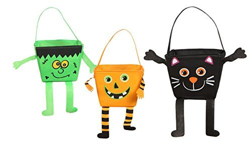 Christmas Carol Characters Costumes (Adorable Halloween Character Trick-or-treat Bags Set of 3 Pumpkin, Monster, and Cat.)