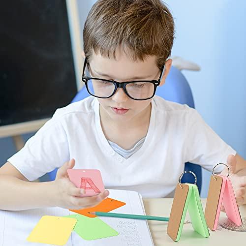 Koogel 8 Stk. Karteikarten mit Rind, 400 Blätter Pocket Lernkarte Mini mehrfarbige Kraftpapier Karten für Vokabel Lernen Unterwegs