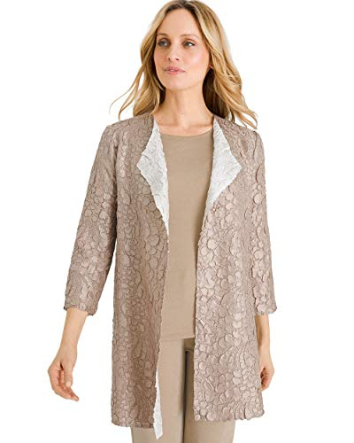 (Chico's Women's Travelers Collection Reversible Sand to White Crushed Jacket Size 8/10 M (1) Tan)