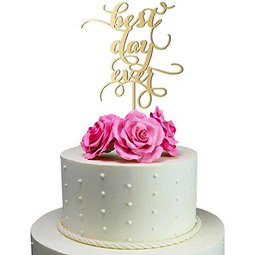 Sugar Yeti Made In USA Wedding Cake Topper Best Day Ever #16 Gold Mirror