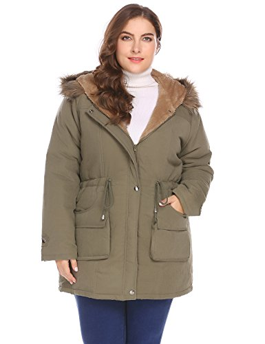Zeagoo Womens Plus Size Military Hooded Warm Winter Faux Fur Lined Parkas Anroaks Long Coats (Size Plus Lined Coat)